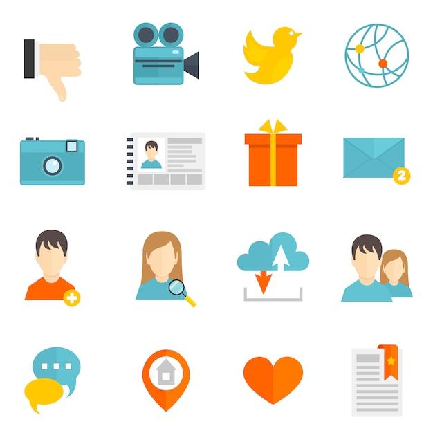 Icone sociali impostate piatte Vettore Premium