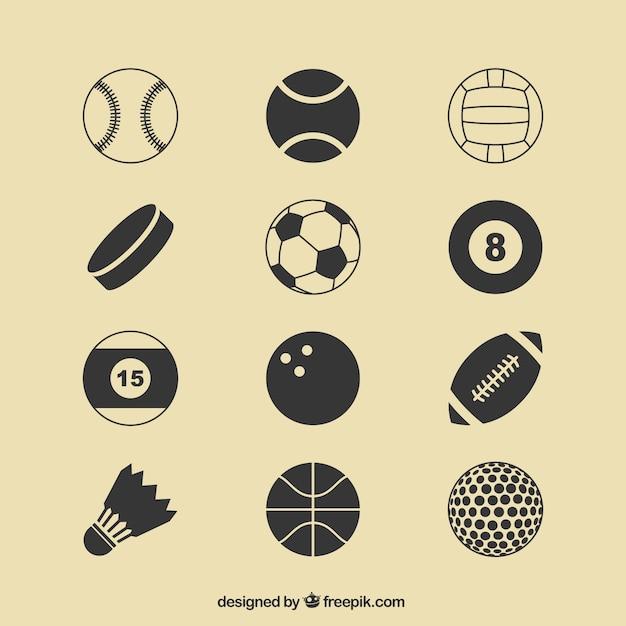 Icone sport palle Vettore gratuito