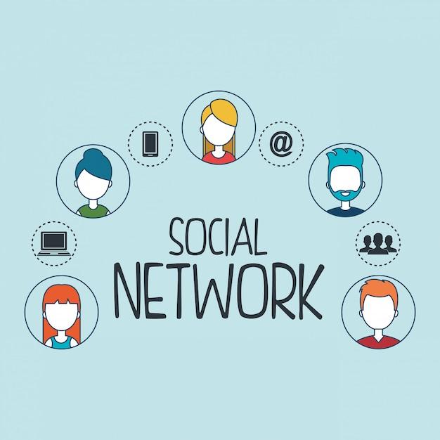 Icone stabilite della rete sociale Vettore gratuito