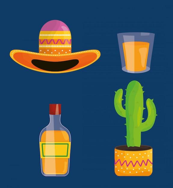 Icone stabilite di celebrazione di cinco de mayo Vettore Premium