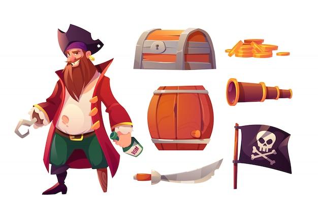 Icone stabilite di vettore dell'attrezzatura del pirata e della nave Vettore gratuito
