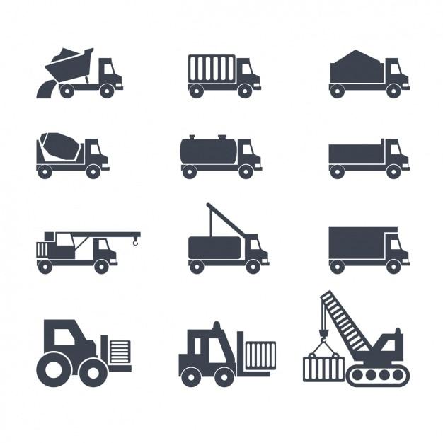 Icone su camion Vettore gratuito