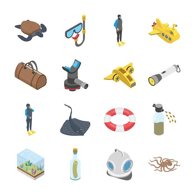 Icone subacquee del veicolo degli accessori Vettore Premium