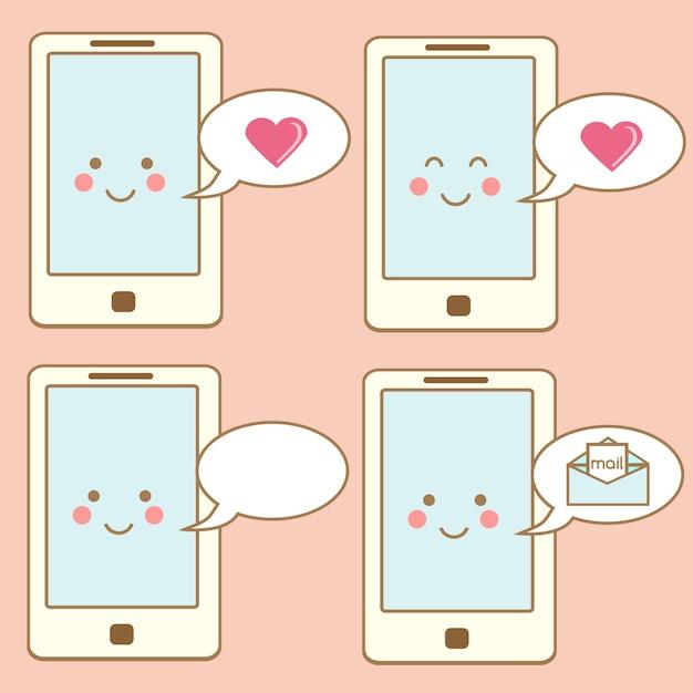 Icone sveglie dello smartphone, elementi di design. carattere sorridente del telefono cellulare di kawaii con i fumetti Vettore Premium