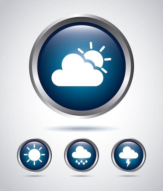 Icone tipi di tempo Vettore Premium