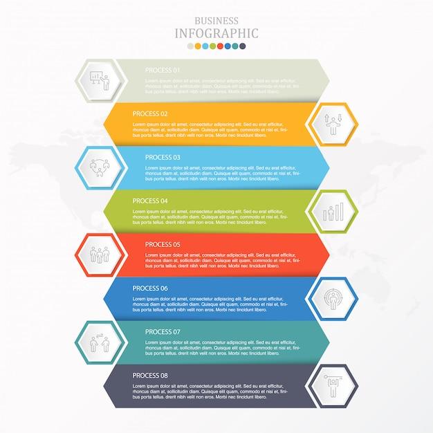 Icone variopinte dell'uomo del lavoro e di infographic per il concetto di affari. Vettore Premium