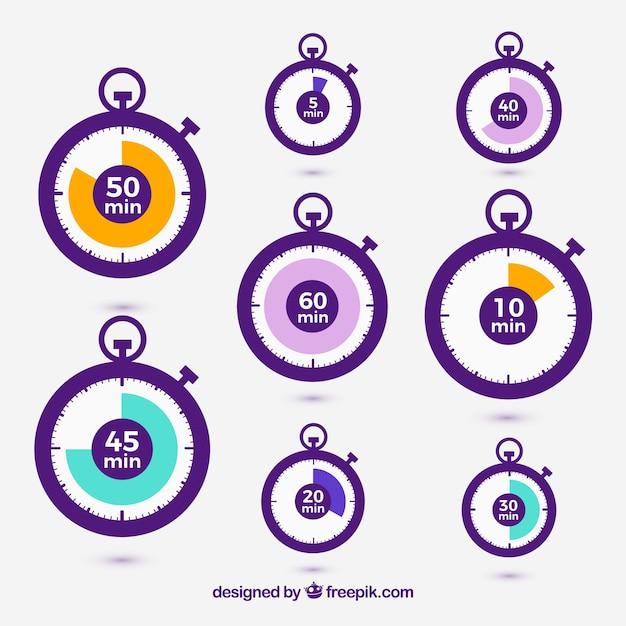Icone vector cronometro set Vettore gratuito