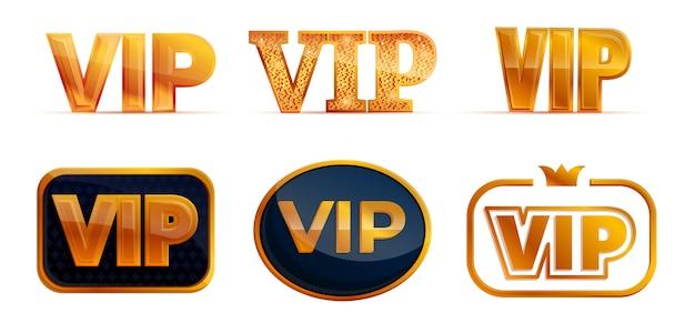 Icone vip, stile cartoon Vettore Premium