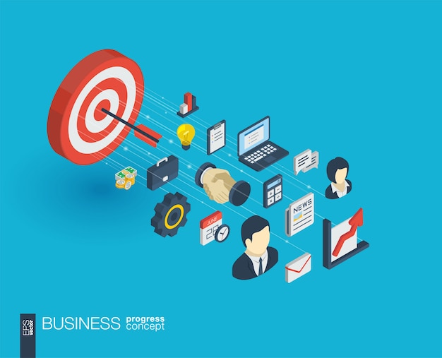 Icone web integrate aziendali. concetto di progresso isometrico della rete digitale. sistema di crescita della linea grafica collegato. sfondo astratto per missione di mercato e piano strategico. infograph Vettore Premium