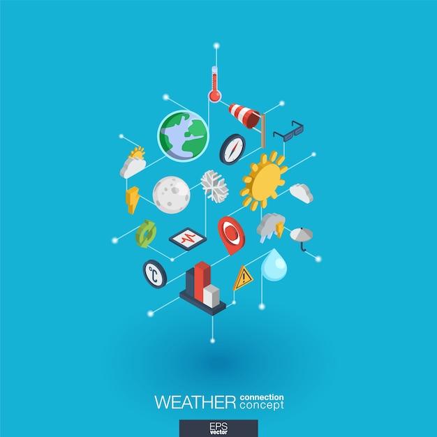 Icone web integrate previsioni del tempo. concetto di interazione isometrica rete digitale. sistema grafico di punti e linee collegato. sfondo astratto per meteorologia e natura. infograph Vettore Premium