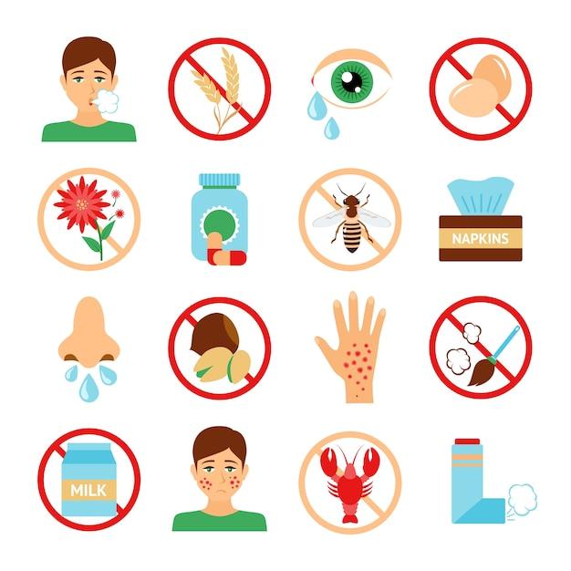 Iconos de diferentes alergias Vettore gratuito