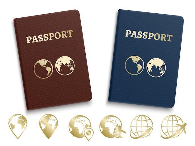 Id passaporti internazionali e icone dorate di navigazione e viaggio Vettore Premium