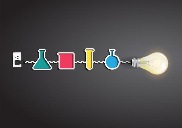 Idea creativa della lampadina di vettore con elementi di chimica e scienza Vettore Premium
