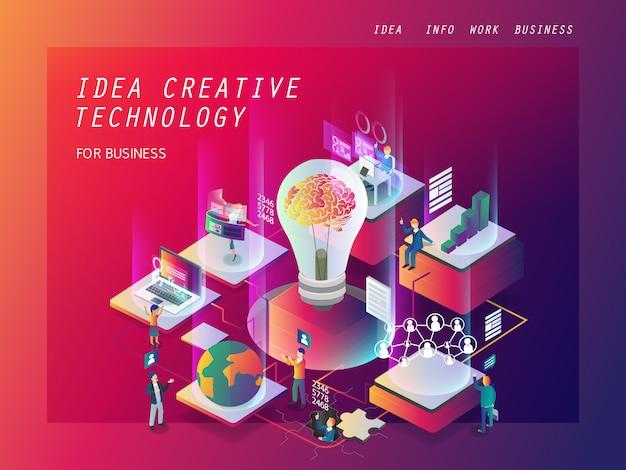 Idea creativa tecnologia aziendale isometrica Vettore Premium