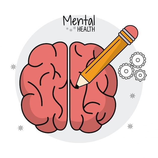 Idea della matita umana del cervello di salute mentale Vettore Premium