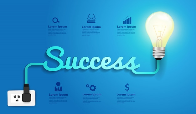 Idea di lampadina con design creativo di successo concetto Vettore Premium