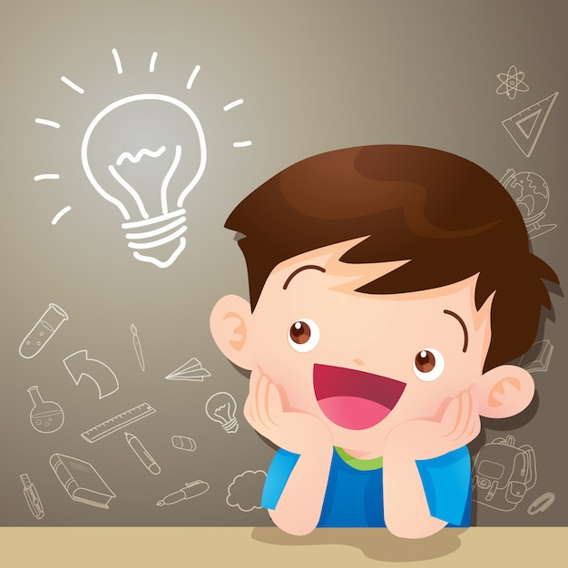 Idea di pensiero del ragazzo dei bambini Vettore Premium
