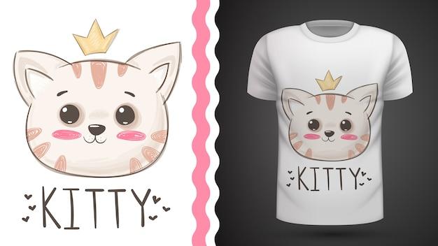 Idea gatto carino per t-shirt stampata Vettore Premium