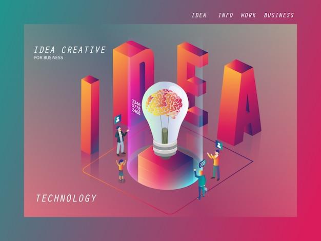 Idea imprenditoriale creativa per affari isometrica Vettore Premium