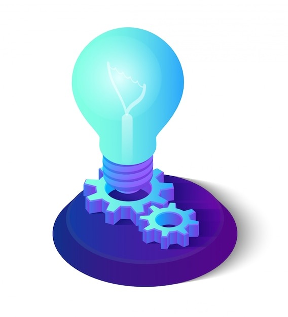 Idea isometrica lampadina con ingranaggi. Vettore Premium