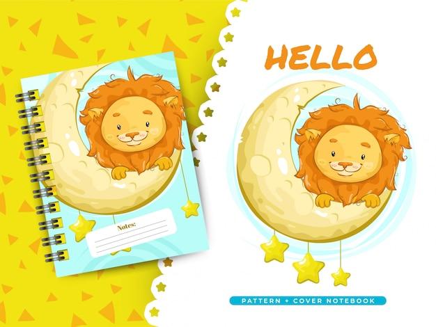 Idea leone carino per quaderno copertina e modello Vettore Premium