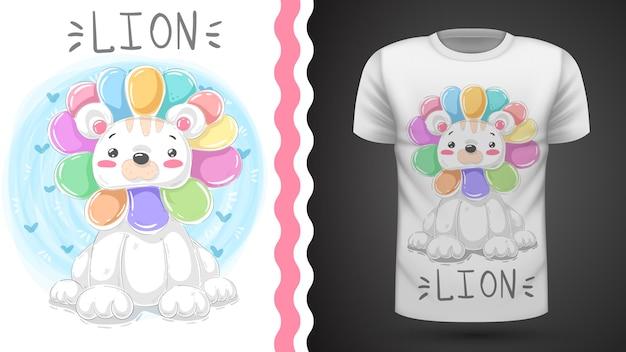 Idea leone carino per t-shirt stampata Vettore Premium