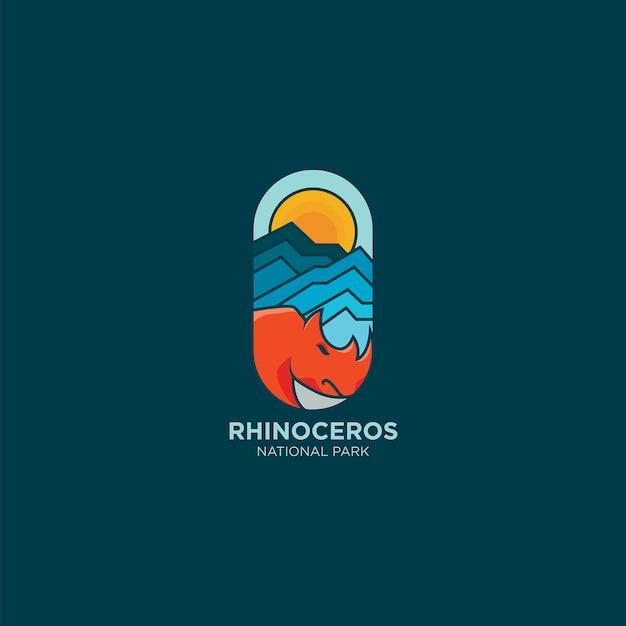 Idea logo rinoceronte colorato Vettore Premium