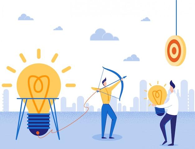Idea startup, focus on target business motivator Vettore Premium