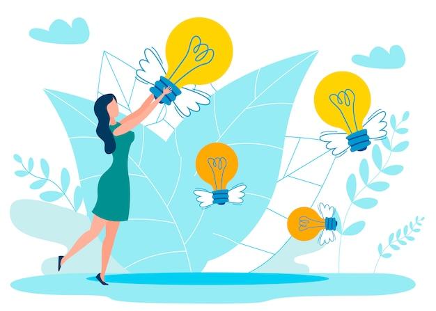 Idee nell'illustrazione piana di vettore della metafora dell'aria Vettore Premium