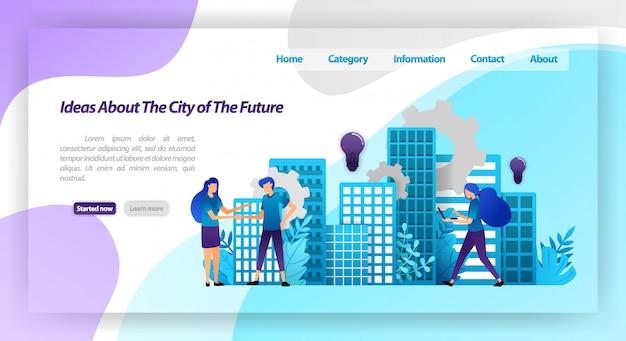 Idee per una città migliore nel futuro, meccanismo smart city e cooperazione con le mani tremanti. modello web della pagina di destinazione Vettore Premium