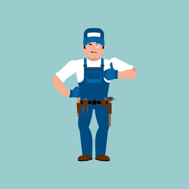 Idraulico pollice in alto. il montatore ammicca emoji. illustrazione allegra di serviceman del lavoratore di servizio Vettore Premium