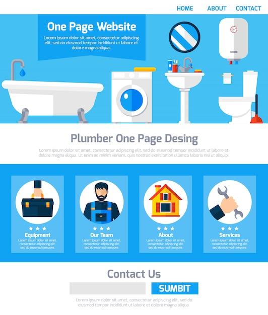 Idraulico servizio one page website design Vettore gratuito