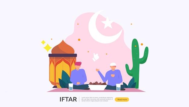 Iftar eating after fasting festeggia il concetto di festa Vettore Premium
