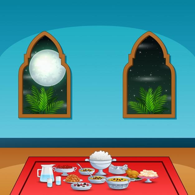 Iftar party con deliziosi piatti all'interno della moschea Vettore Premium