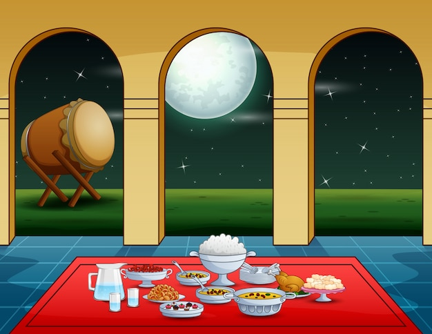 Iftar party con deliziosi piatti in moschea Vettore Premium