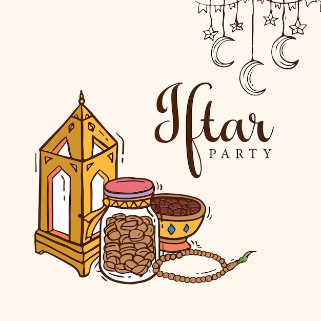 Iftar party doodle art Vettore Premium