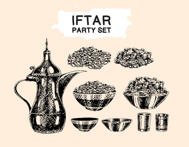 Iftar party islamic theme set hand drawing style element Vettore Premium