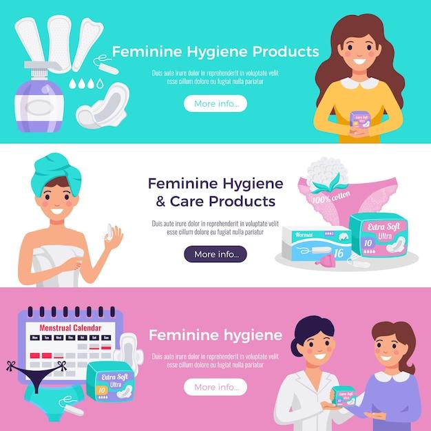 Igiene femminile e prodotti per la cura 3 banner sito web orizzontale piatta con tamponi tamponi consulenza medica Vettore gratuito