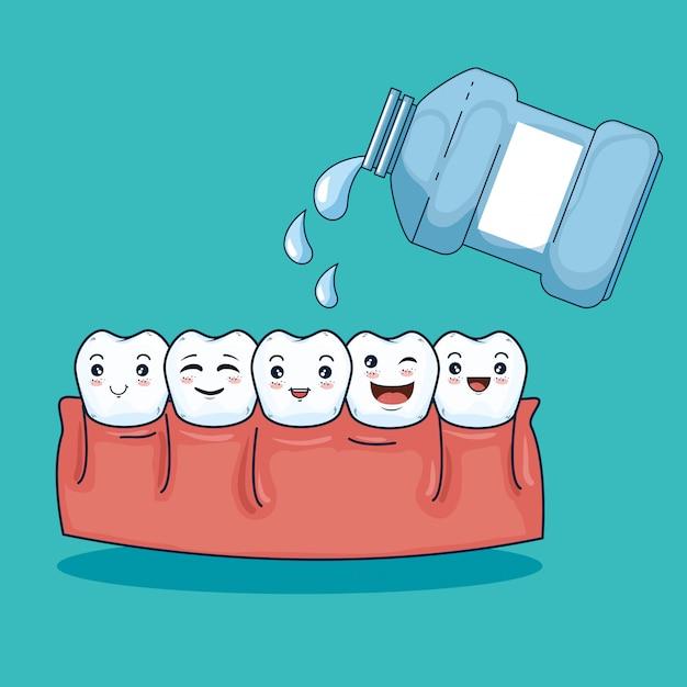 Igiene igiene dei denti con collutorio Vettore gratuito