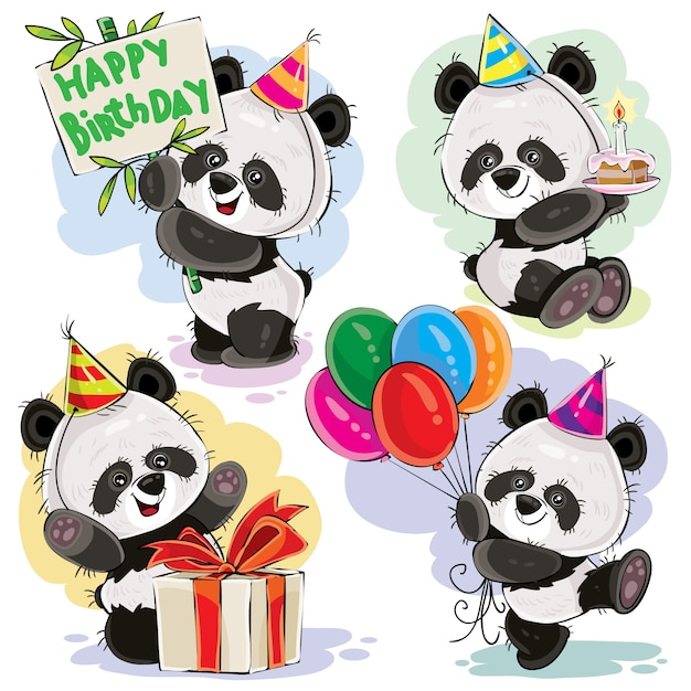 Il bambino dell'orso di panda celebra il vettore del fumetto di compleanno Vettore gratuito