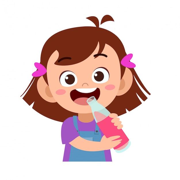 Il bambino felice beve il succo Vettore Premium