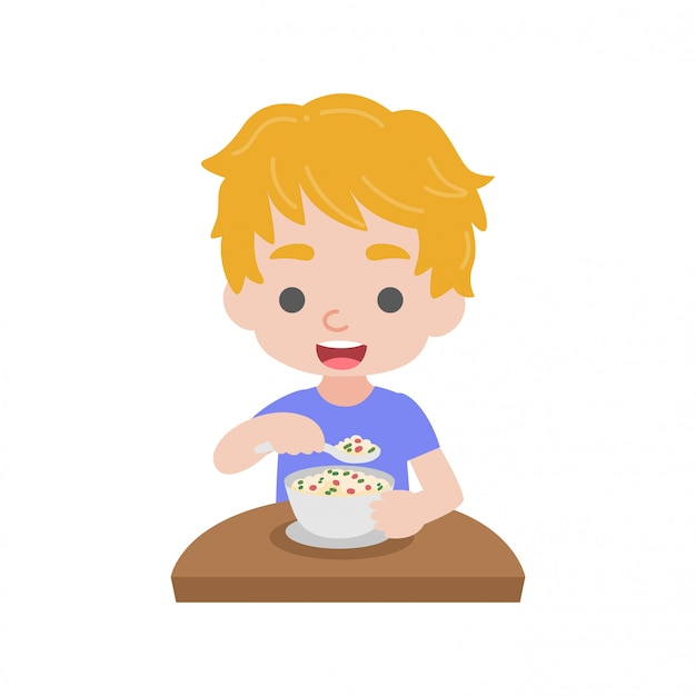 Il bambino mangia cibo Vettore Premium