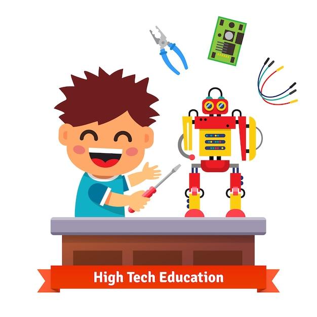 Il bambino sta facendo il proprio robot Vettore gratuito