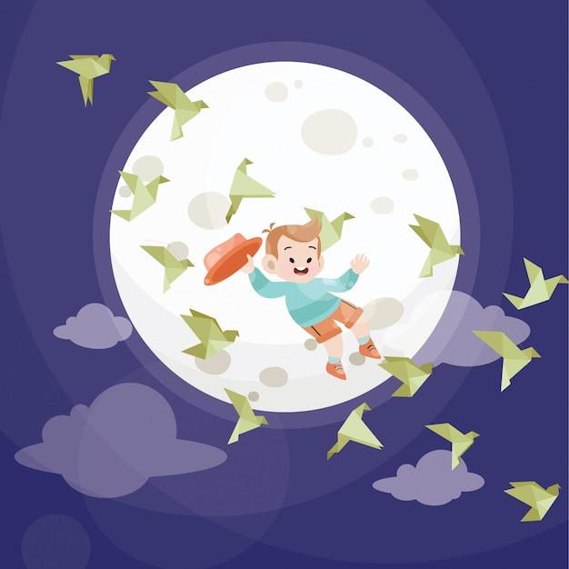 Il bambino sveglio gioca con le stelle e la luna piena Vettore Premium