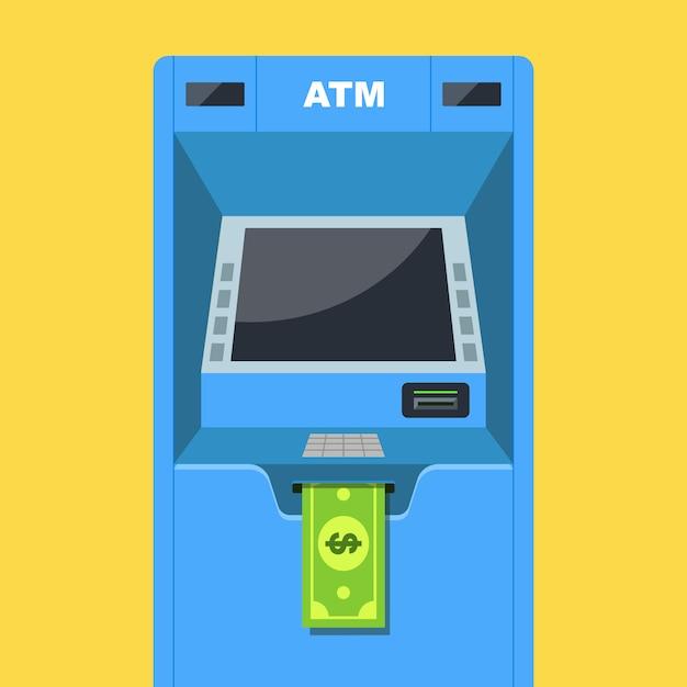 Il bancomat distribuisce denaro. stipendio in dollari. illustrazione vettoriale piatta. Vettore Premium