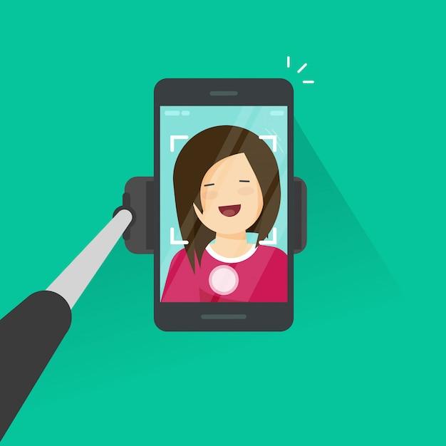 Il bastone e lo smartphone di selfie che fanno la foto di voi stessi vector l'illustrazione, giovane ragazza felice del fumetto piano con il telefono cellulare fanno la foto di auto Vettore Premium