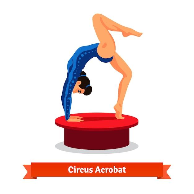 Il bellissimo acrobata del circo esegue il ponte ginnico Vettore gratuito