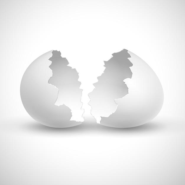 Il bianco ha aperto pasqua con l'illustrazione isolata rotta coperture. Vettore Premium