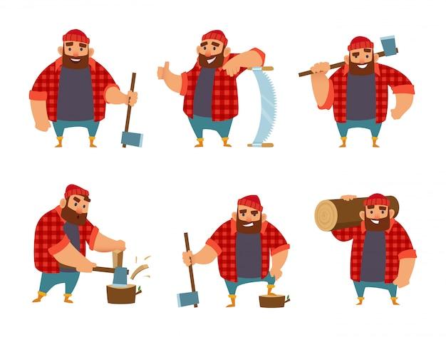 Il boscaiolo in diverse pose di azione. Vettore Premium