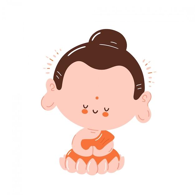 Il buddha sorridente felice sveglio medita nella posa del loto. isolato su sfondo bianco progettazione dell'illustrazione del personaggio dei cartoni animati, stile piano semplice. piccolo buddha nel concetto di loto Vettore Premium